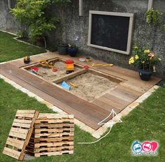 The summer is full of fun. 21 cool palette inspirations, with which children get rid of the boredom during the holidays - Garten - Backyard For Kids, Backyard Projects, Backyard Ideas, Outdoor Fun, Outdoor Decor, Outdoor Pallet, Diy Fire Pit, Garden Boxes, Easy Woodworking Projects