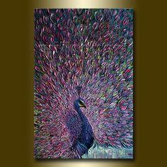 Peacock Modern Oil Painting Textured Palette Knife by willsonart, $375.00