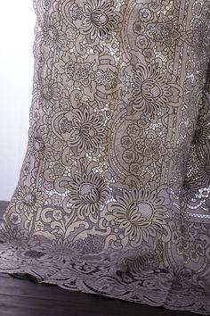 Luxury linen fine cut work tablecloths large size
