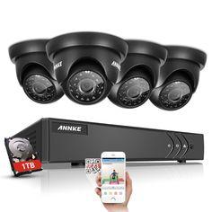 ANNKE 4CH 720P DVR Kit CCTV System 1280*720 1500TVL Waterproof IR Night Vision Surveillance Camera CCTV kits 1TB HDD