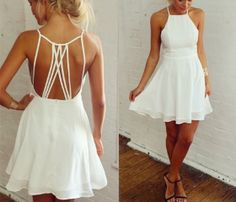 little WHITE dress with string cutouts