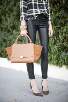 CouldIHaveThat: Leather + Plaid.  SERIOUSLY OBSESSED WITH EVERYTHING ABOUT THIS LOOK!