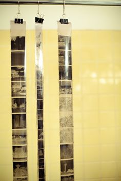Drying film in the bathroom. Make sure to steam it first so you don't get dust on the negatives.