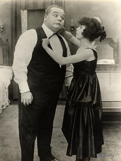 """miss-flapper:  Roscoe """"Fatty"""" Arbuckle and Mabel Normand in He Did and He Didn't, 1916"""