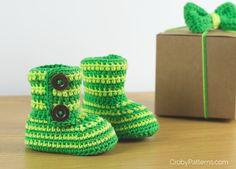 It's finally here! Green Zebra Crochet Baby Booties VIDEO