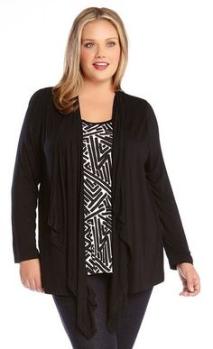 BLACK AND WHITE PLUS SIZE TOPS ABSTRACT PRINT TANK CARDIGAN COMBO…