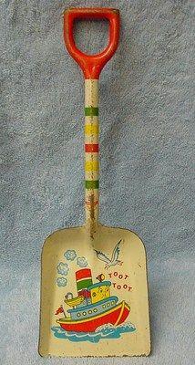 "Vintage 1950's Ohio Art 12"" TOOT TOOT Sand Pail Shovel"