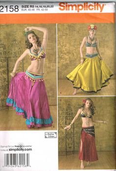 Exotic Harem Belly Dancer Costume Simplicity 2158 Sewing Pattern by PeoplePackages