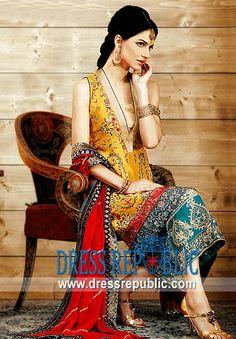 Orange Gladia, Product code: DR1451, by www.dressrepublic.com - Keywords: Wholesalers of Shalwar Kameez in Pakistan, Shalwar Kameez Pakistan