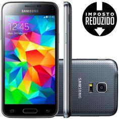 Celular smartphone samsung galaxy s5 mini duos g800h preto -dual chip, 3g, tela 4.5, câmera 8mp c/ flash +frontal 2mp, quad core de 1.4 ghz, 16gb