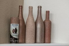 Take wine bottles, paint any color and then add same color stone spray paint to them and get a nice color variety! #crafts #winebottlecrafts #diy