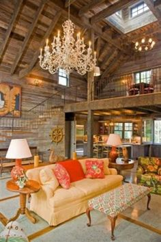 Love the ruggedness of the wood mixed with the feminine accents.