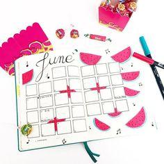 Message au mois de Juin : si tu veux être le bienvenu, il vaudrait mieux pour toi que tu rappliques avec le soleil ! ☀️☀️☀️ . #bujo #bulletjournal #juin #june #pasteque #watermelon #tombow #gingerray