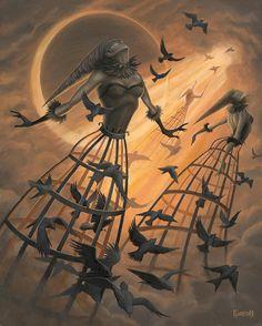 Tear Into The Sky – Anthony Clarkson Creepy Art, Weird Art, Dark Fantasy Art, Arte Steampunk, Arte Black, Dark Artwork, Gothic Art, Horror Art, Surreal Art