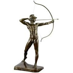Tall Bronze Sculpture Male Nude Archer by Ernst Moritz Geyger H. 60 inch