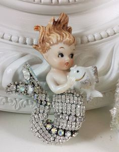 Vintage WALL plaque MERMAID with GORGEOUS Rhinestone TAIL OMG! Stunning!