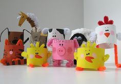 Cardboard Tube Farm Animals: The Round Up! - Cardboard Tube Farm Animals: The Round Up! – Crafts by Amanda - Fun Crafts For Kids, Projects For Kids, Diy For Kids, Craft Projects, Arts And Crafts, Craft Ideas, Easy Crafts, Farm Animal Crafts, Farm Animals