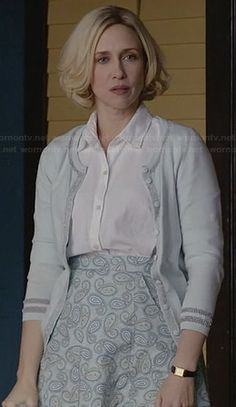 Norma's mint green cardigan and paisley print skirt on Bates Motel.  Outfit Details: http://wornontv.net/30345/ #BatesMotel