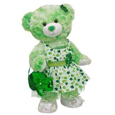 Shamrock Sweetie Lucky Clover Teddy - Build-A-Bear Workshop Cute Stuffed Animals, Cute Animals, Custom Teddy Bear, Baby Alive, Build A Bear, Cuddling, Workshop, Plush, Kitty