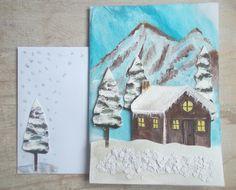 """Carte """"chalet 3 D"""" avec enveloppe assortie. Peinture et collage."""