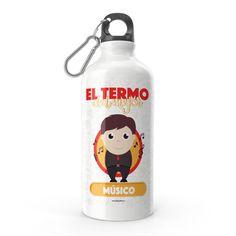 Termo - El termo del mejor músico, encuentra este producto en nuestra tienda online y personalízalo con un nombre. Water Bottle, Drinks, Social, Priest, Carton Box, Store, Crates, Musica, Working Man