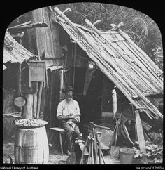 Digital Collections - Pictures - King, Henry, Man stroking a cat whilst sitting outside a bush humpy, Australia, ca. Van Diemen's Land, First Fleet, Terra Australis, Botany Bay, Aboriginal People, Historical Pictures, Tasmania, Old Photos, King Henry