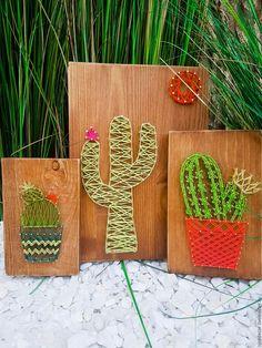 Купить Кактусы трио - салатовый, стринг арт, стрингарт, панно для интерьера, панно из дерева