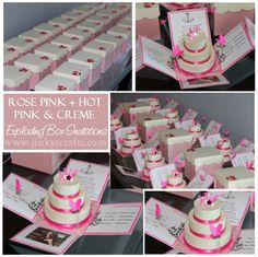 Sweet16-Quinceanera-BatMitzvah-wedding Exploding box invitation with 3-tier cake