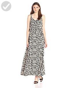 Calvin Klein Women's Printed Maxi Dress W/ Hardware, Black/Latte Combo, Medium - All about women (*Amazon Partner-Link)