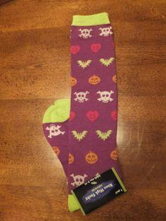 NWT Purple Skull Print Halloween Knee Socks Pumpkins Bats Glow In The Dark Adult