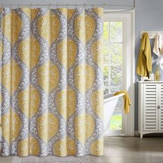 Intelligent Design Lilly Microfiber Shower Curtain, Yellow