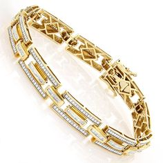 This luxurious Designer Diamond Bracelets Collection Piece weighs approximately 30 grams and showcases ctw of sparkling channel set baguette diamonds and pave set round diamonds. Featuring a sophisticated design, a fine gallery back, and a highly Gents Bracelet, Mens Diamond Bracelet, Mens Gold Bracelets, Crystal Bracelets, Bangle Bracelets, Bangles, Bracelet Designs, Necklace Designs, Diamond Mangalsutra