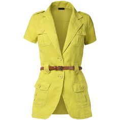 Womens Lightweight Short Sleeve Safari Jacket with Belt (€25) ❤ liked on Polyvore featuring outerwear, jackets, light weight jacket, safari jacket, belted safari jacket, jacket with belt and lightweight jackets