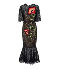 Lela Rose     Embroidered Fit and Flare Dress ($2,995) ❤ liked on Polyvore featuring dresses, black, lace dress, fit flare dress, flower print dress, floral lace dress and ruffle hem dress