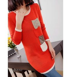 Fitted Red Long Sleeve Autumn Sweater for Lady