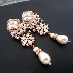 Rose Gold Bridal earrings Wedding earrings Wedding by treasures570