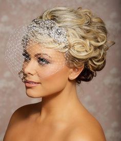 Birdcage veil, Rhinestone Veil, Crystal Veil, Jeweled Veil, Blusher Veil, Crystal bridal Headpiece - Made to Order -MARGOT. $88.00, via Etsy.