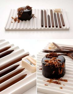 Dessert Comes with Chocolate Pencils