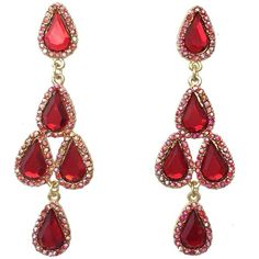 Red AB Rhinestone Prom Formal Teardrop Cluster Dangle Gold Tone... ($20) ❤ liked on Polyvore featuring jewelry, earrings, brinco, rhinestone earrings, red teardrop earrings, gypsy earrings, prom jewelry and rhinestone dangle earrings