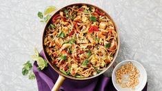 Saucy Skillet Pad Thai with Chicken. This is a takeout classic for good reason. Tender chicken, crunchy peanuts and soft noodles are tossed in a tangy-sweet sauce — how could it not hit the spot for dinner?