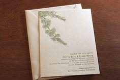 Pine tree #letterpress #wedding invitation set for a #rustic, #winter wedding.