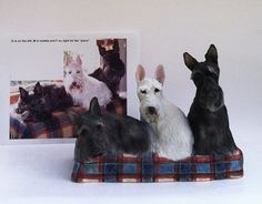 "YOUR 3 Scotties or Any Breed Custom Pet Portrait Sculpture OOAK Porcelain Clay 10 to 12"" W"