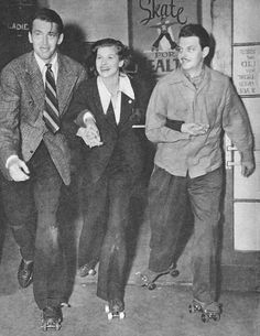 Jimmy Stewart, Lucille Ball and Vinton Hayworth (Rita's uncle) at a roller skating party given by Ginger Rogers in 1937