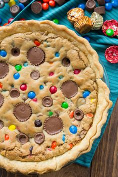 Candy Bar Pie. A blondie in a pie crust that's filled with your favorite candy.