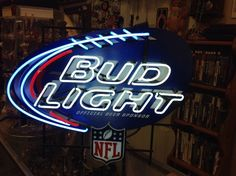 Bud Light Nfl Football Shaped Neon Beer Sign 30'' X 24 Large Size
