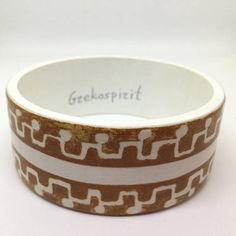 Unique cuff bracelet, wood bangle, Greek style, summer wood  bracelet, special gift, boho jewelry, bohemian, ancient motif, white and brown Wood Bracelet, Cuff Bracelets, Bangles, Boho Jewelry, Jewelry Gifts, Unique Jewelry, Greek Pattern, Style Summer, Special Gifts