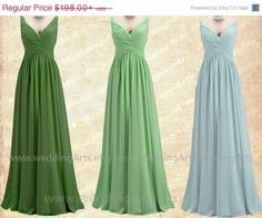 On Sale Emily- Bridal Bridesmaid dress FORMAL dress A-line chiffon dress prom dress with straps Shades of green Custom 120 colors Any size