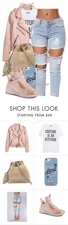 """""""couture is an attitude"""" by lovebrii-xo ❤ liked on Polyvore featuring Moschino, Chanel, Skinnydip, Puma and Christian Dior"""