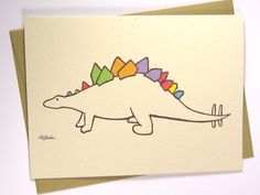 Funny Birthday Card - Party Stegosaurus - Congratulations Card, Dinosaur Card, Baby Shower card, Recycled Illustrated Card (1018)