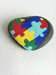 AUTISM REFRIGERATOR MAGNET-Hand Painted Autism Heart Stone Magnet-Puzzle Piece Heart Magnet-Autism Heart-Colorful Puzzle Pieces-Handmade by SallyStones on Etsy https://www.etsy.com/listing/227945363/autism-refrigerator-magnet-hand-painted